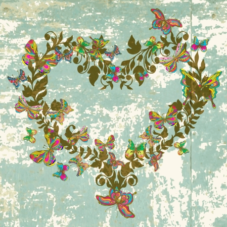 Floral vintage natural heart with butterfly for Valentine design Stock Vector - 17530592