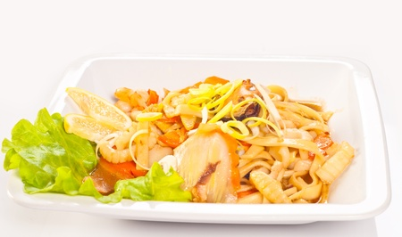 Japanese Cuisine - Pasta with vegetables and seafood photo