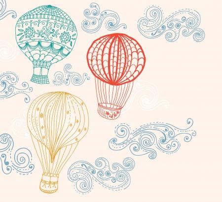 熱い空気バルーン空に手設計の背景を描画  イラスト・ベクター素材