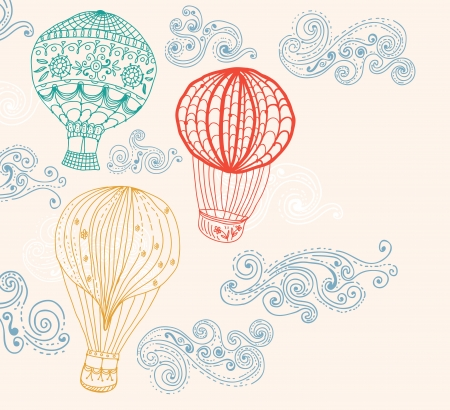 hot air balloon: hot Air Balloon in sky, hand drawn Background for Design Illustration