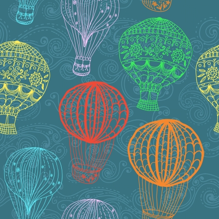 hot Air Balloon in sky, hand drawn seamless Background for Design Vector
