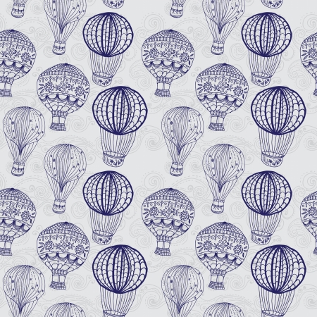 air balloon: hot Air Balloon in sky, hand drawn seamless Background for Design Illustration