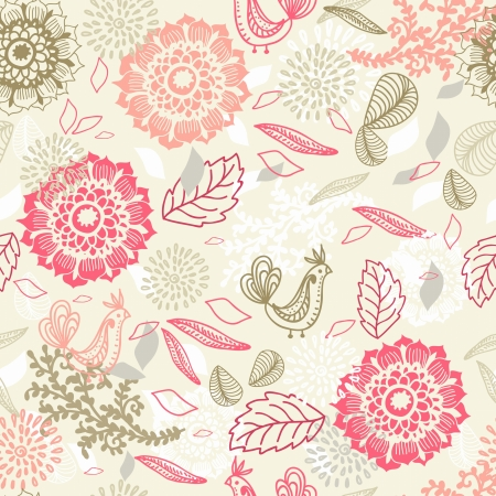 Natural seamless background with Flower and bird, illustration Vector