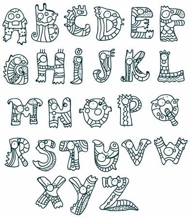 Joyful Cartoon font - from A to Z, monster hand drawn letter, funny Alphabet for Design Stock Vector - 18493195