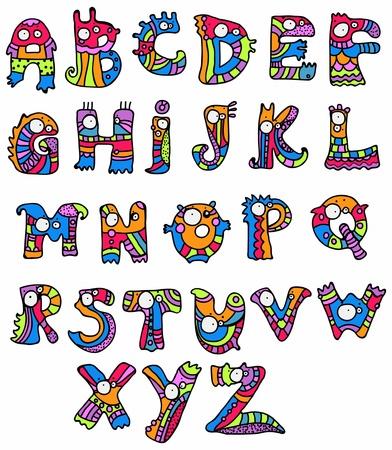 うれしそうな漫画フォント - A から Z、モンスターの手描き下ろしレター、デザインの面白いアルファベット