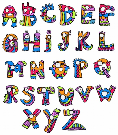 bright alphabet: Joyful Cartoon font - from A to Z, monster hand drawn letter, funny Alphabet for Design