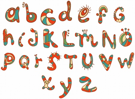Joyful Cartoon font - from A to Z, hand drawn color letter, funny Alphabet for Design Vector