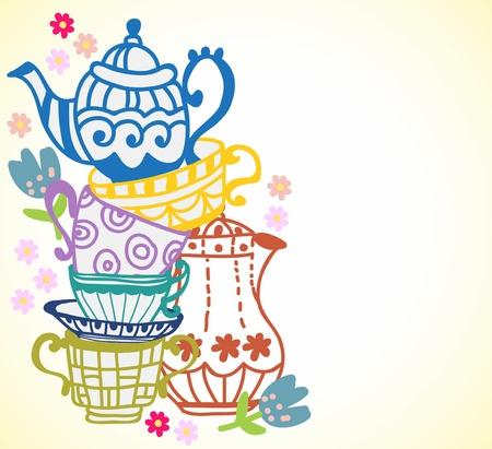 tarde de cafe: té con la tetera taza fondo, ilustración para diseño Vectores