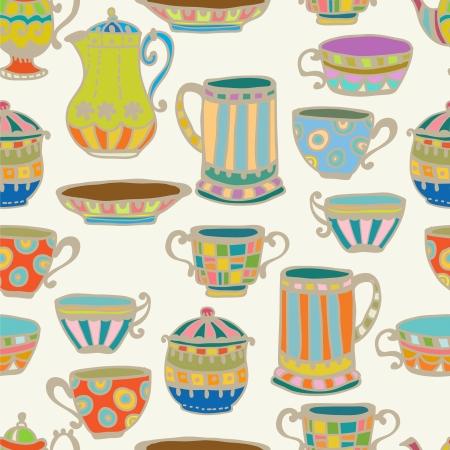 tarde de cafe: Taza de té con la tetera de fondo sin fisuras, ilustración para diseño