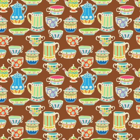 afternoon break: tea cup seamless background with teapot, illustration for design