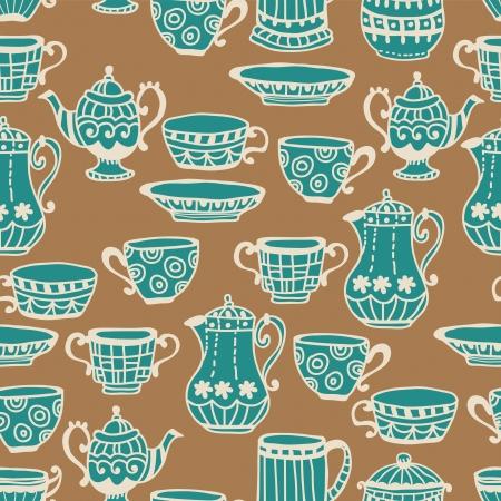 afternoon: Taza de t� con la tetera de fondo sin fisuras, ilustraci�n para dise�o