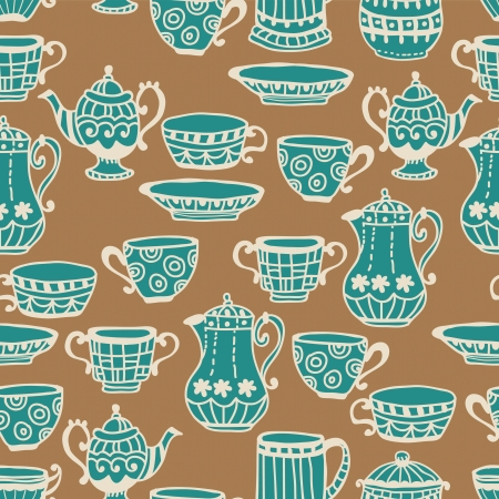 tea cup seamless background with teapot, illustration for design