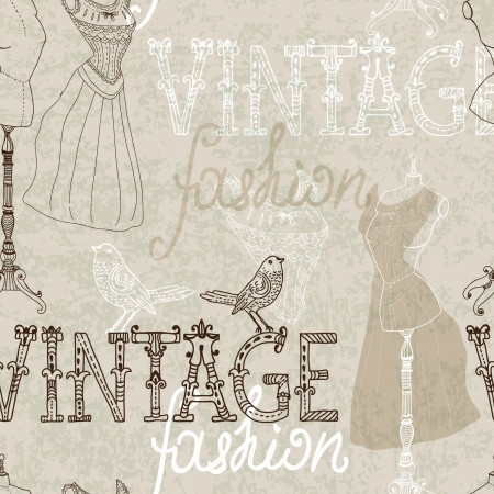 atelier: Seamless Vintage background with retro dummy for design Illustration