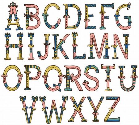 手描きデザインのヴィンテージのアルファベット