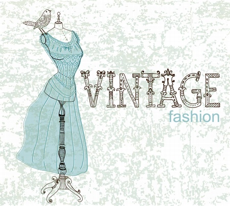dress form: Vintage card with retro dummy for design