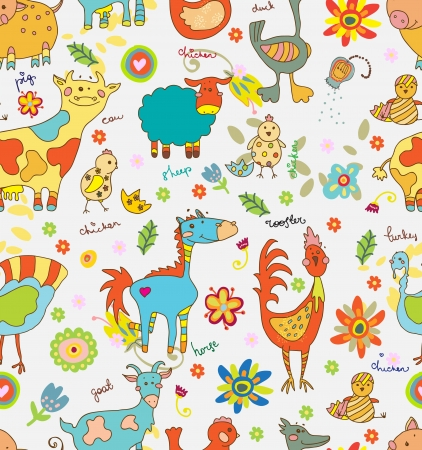 Funny cartoon farm animals Seamless Background Vector