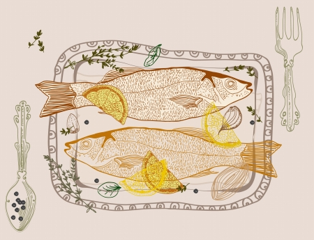 Background with taste fish dish Stock Vector - 18718736