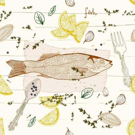 Naadloze Achtergrond met vis smaak schotel