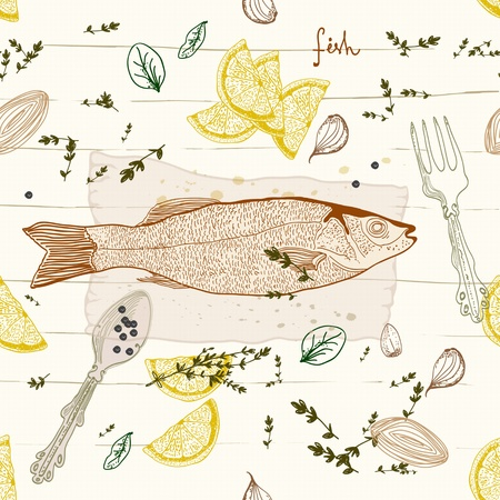 mediterranean: Seamless Background with fish taste dish