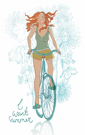 summer bicycle smiling girl card Vector