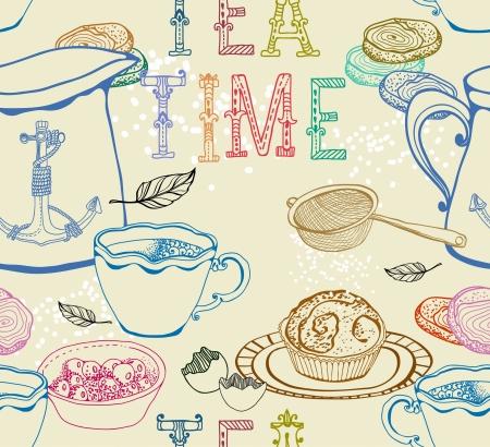 tarde de cafe: Té Vintage patrón de fondo sin fisuras para el diseño