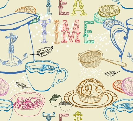 afternoon tea: Vintage tea background  seamless pattern for design Illustration