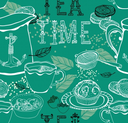 coffee berry: Vintage tea background  seamless pattern for design Illustration