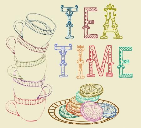 tarde de cafe: Té Vintage background tiempo con las tazas, las galletas y las letras