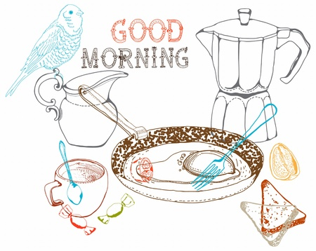 vintage morning breakfast background  Illustration for design Stock Vector - 18876517