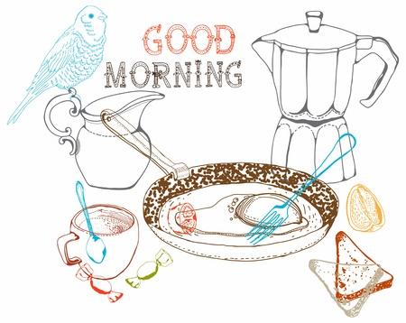vintage morning breakfast background  Illustration for design Stock Vector - 18876517
