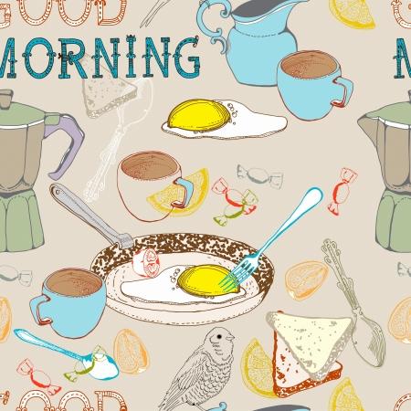 シームレスなビンテージ朝朝食背景図のデザイン  イラスト・ベクター素材