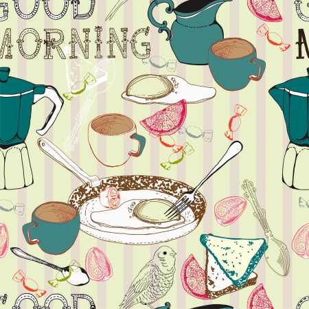 teatime: Seamless vintage morning breakfast background  Illustration for design Illustration