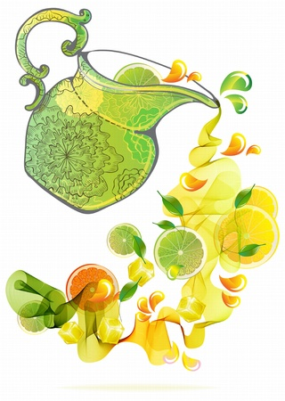 lime juice: Orange and lime juice splash with abstract wave, beautiful illustration