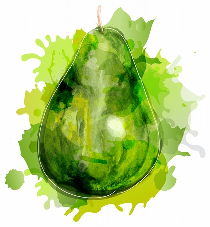 picturesque: Watercolor abstract green pear with splash over white
