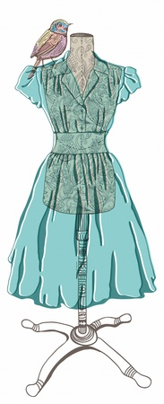 Vintage dress with bird for design Vector