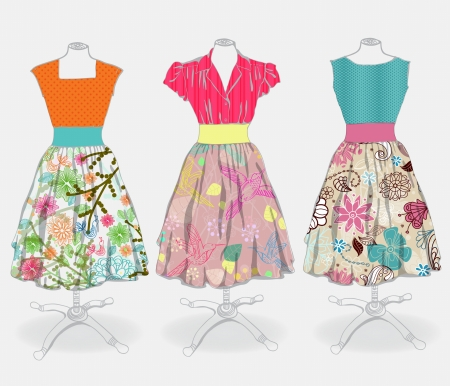fashion boutique: Vintage dress background for design Illustration