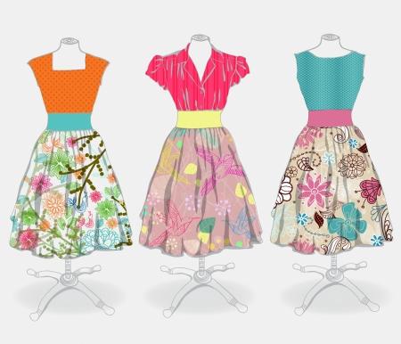 ankleiden: Vintage dress Hintergrund f?r Design Illustration