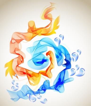 fire and ice: Abstracte achtergrond blauw en rood, ijs en vuur illustratie