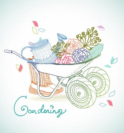 garden tool: Gardening colorful hand drawn illustration