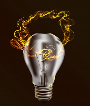 Realistic Bulb isolated over dark Background with Abstract light wave  Illustration