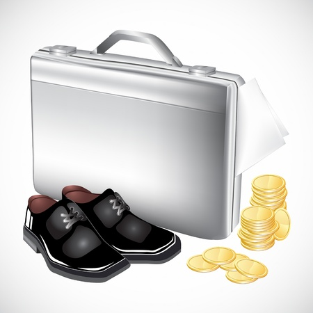 business case: silver briefcase with boots and coins for business design Illustration