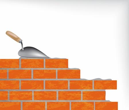 materiali edili: Muro di mattoni e cazzuola illustrazione
