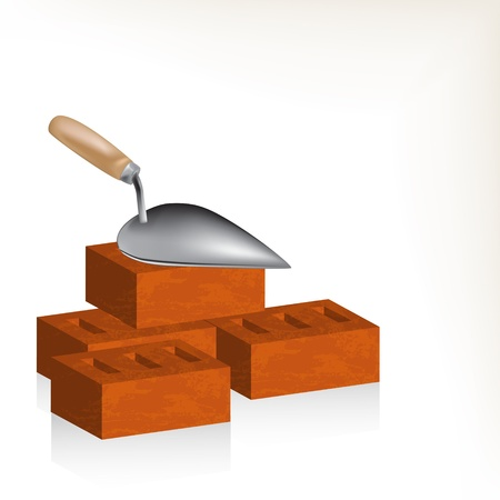 trowel: Brick wall and trowel illustration Illustration