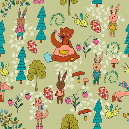 Seamless cartoon Background with Forest Animals, illustration Vector