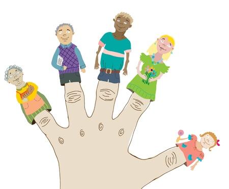 five people: Happy Cartoon Family, dolls on fingers  illustration