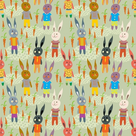 hare: Seamless cartoon Background with Funny Hare for design Illustration
