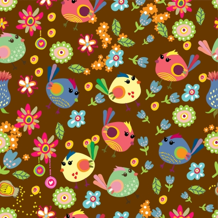 Seamless cartoon Background with color Birds, illustration Vector