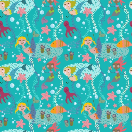 Seamless cartoon Background with color mermaid, childish illustration Vector
