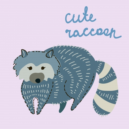 racoon: cute cartoon raccoon illustration Illustration