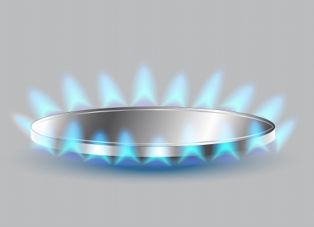 gas flame: Cucina a gas bruciatore illustrazione Vettoriali